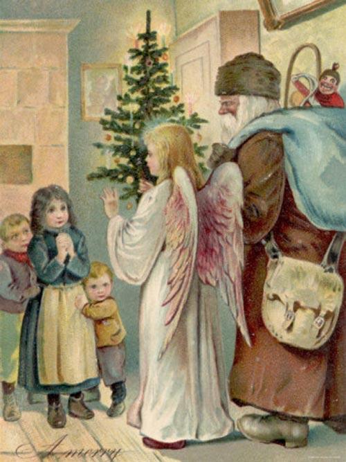 Новогодние и Рождественские открытки с елками