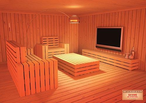 Дизайн жилых комнат в виде сауны
