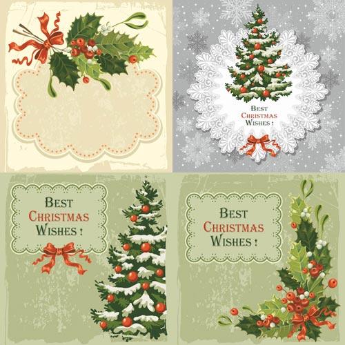 Старинные Новогодние и Рождественские открытки с елками