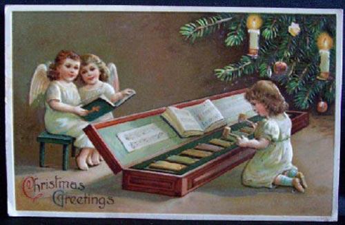 Старинные Новогодние открытки с елками