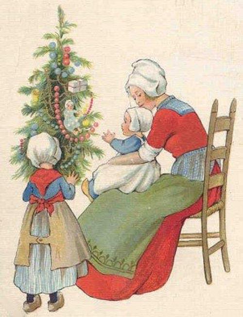 Старинные Рождественские открытки с елками